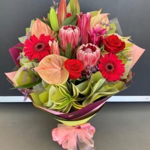 Native Bunch – Pink Ice Proteas, Anthuriums and Red Roses