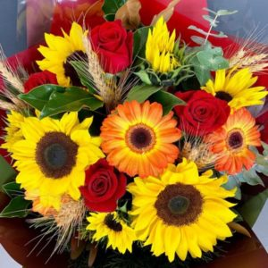 Red Rose and Sunflower Bouquet